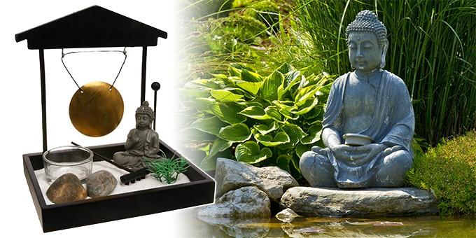 Bouddha Zen Jardin avec Lumignons Bougie-Rectangulaire